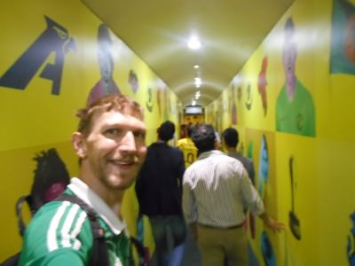 Heading down the players tunnel.