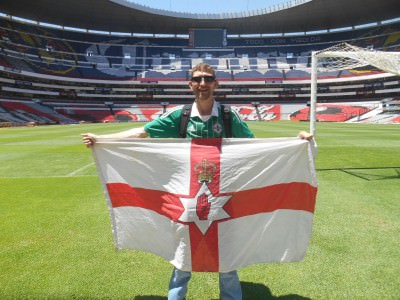 Northern Ireland flag at Estadio Azteca, Mexico City.