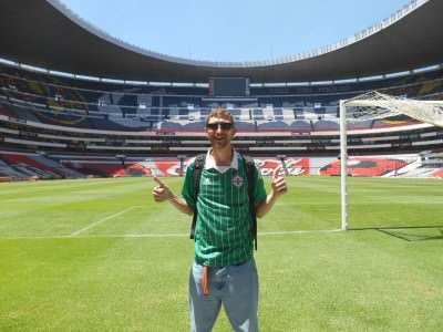 Pitchside at the Estadio Azteca.