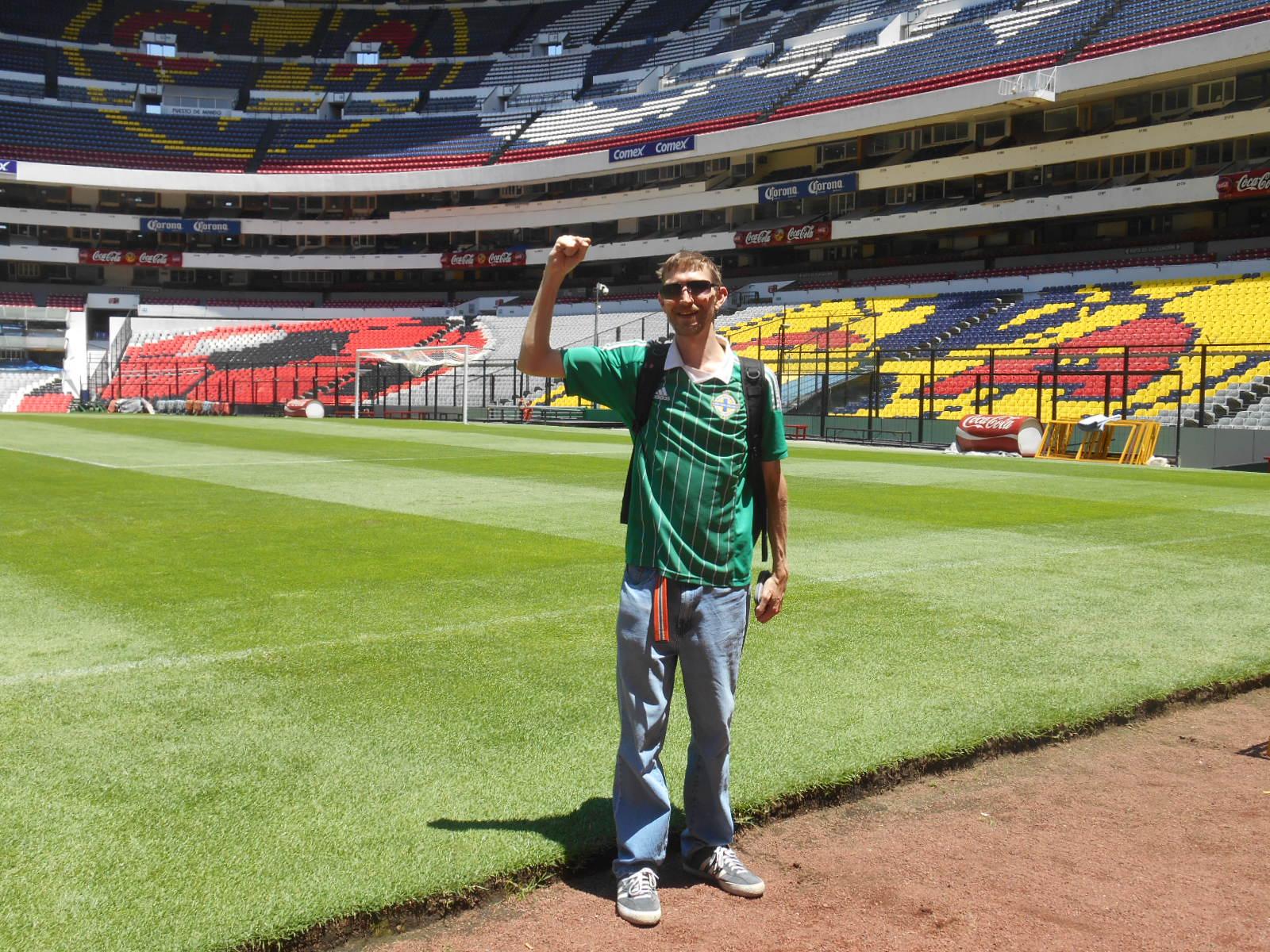 Doing the Maradona at the Hand of God end! Mexico City.
