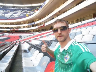 In the stand at Estadio Azteca.