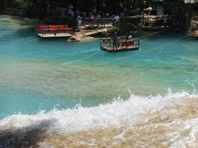 The rafts across to the other side at Agua Azul.