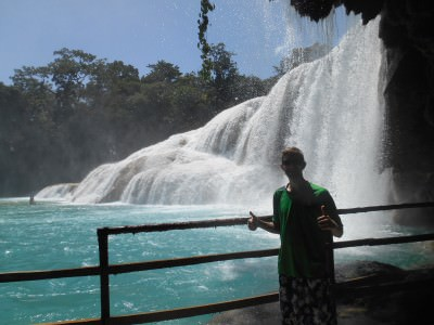 Agua Azul, underneath the main falls.
