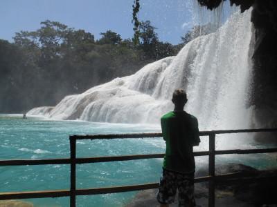 Agua Azul, underneath the main falls.