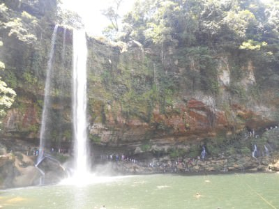 Visiting Misol Ha waterfall in Mexico.