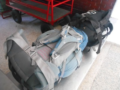 Checking our bags in at San Cristobal de las Casas.