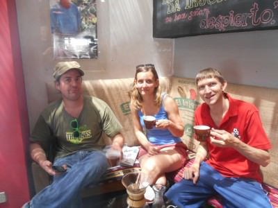 Marcos, Stina and I with our local coffees