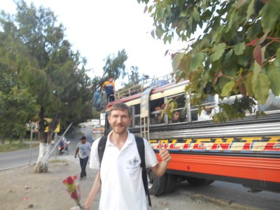 Changing chicken buses in Huehuetenango!