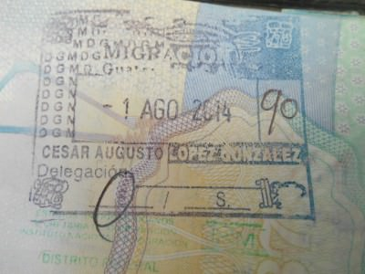 Entrance stamp for Guatemala at La Mesilla - with a fee - ouch!