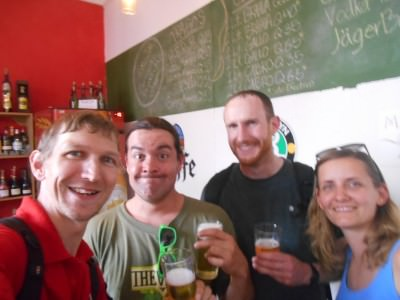 Salut mes amigos! A beer at the end of the bike ride.