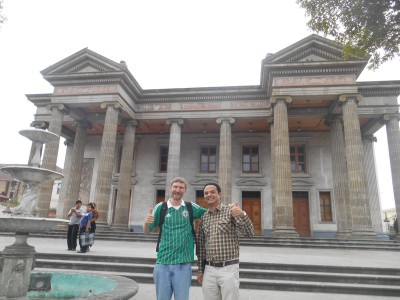 Giovanni and I at the Teatro Municipal in Quetzaltenango, Guatemala.
