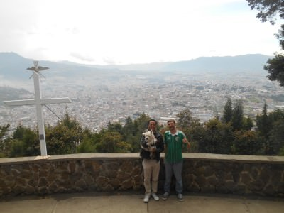 With Giovanni and his dog at the top of Cerro Baul admiring the views of Xela.