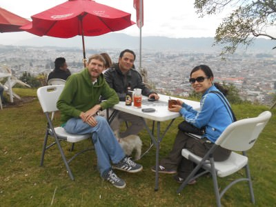 Drinks overlooking Quetzaltenango from Panorama Restaurant.