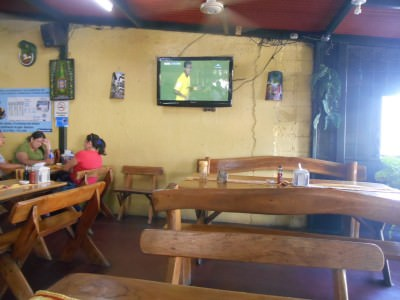 Watching the football in Sopon Tipico.