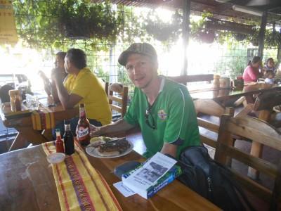 Loving my Chorizo Tipico in San Salvador.