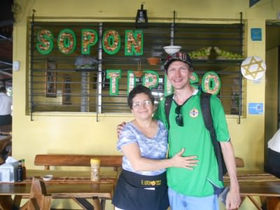 With Iris the manager at Sopon Tipico, San Salvador.
