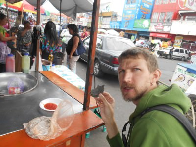Having some blue tortillas in the market.