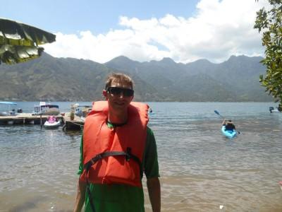 Ready for kayaking in Lago Atitlan, Guatemala.