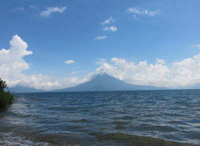 View of the lake and surrounding volcanoes.
