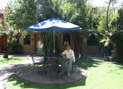 Relaxing in the garden at Casa Morada - San Cristobal de las Casas Mexico.
