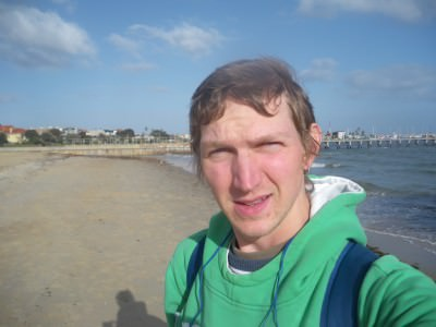 Selfie on St. Kilda beach!