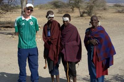 With the circumcised guys at Oldupai Gorge, Tanzania (photo credit - Raymond, Man on the Lam.com)