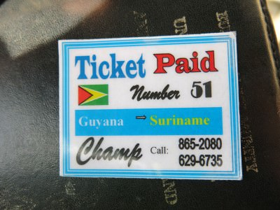 guyana suriname border ticket