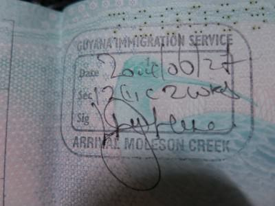 My arrival stamp for Guyana at Moleson Creek.