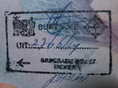 My exit stamp for Suriname at South Drain.