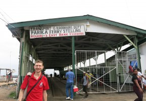 Backpacking in Parika, Guyana - by the ferry terminal.