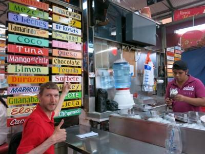 Tequila ice cream in Mercado Benito Juarez