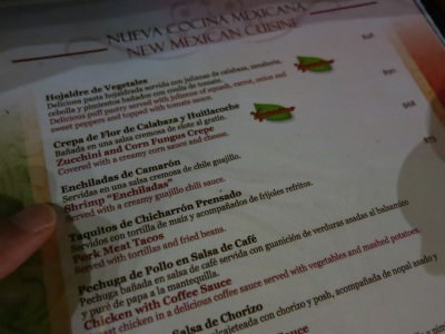 Menu at Plaza Real Restaurante in San Cristobal de las Casas
