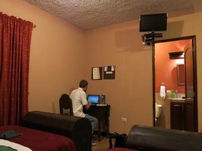 Blogging away on the fast wifi in Hostal 7 Orejas.