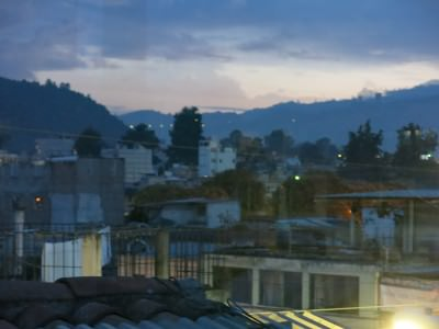 Rooftop views of Xela at sunset.