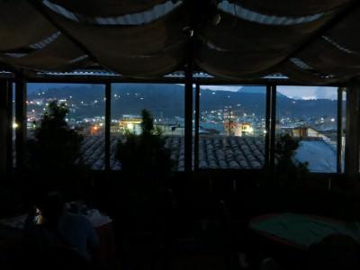 Rooftop views at night.