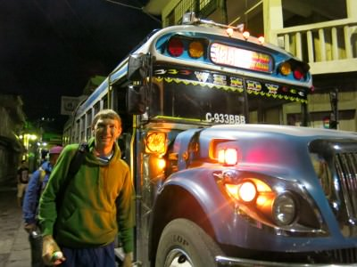 Getting on our chicken bus in San Pedro La Laguna.