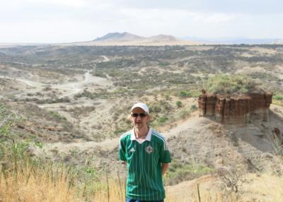 Admiring the views at Oldupai Gorge Tanzania