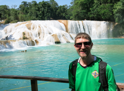 Savouring the moment at Agua Azul waterfalls.