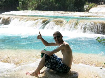 Relaxing near the top of Agua Azul waterfalls.