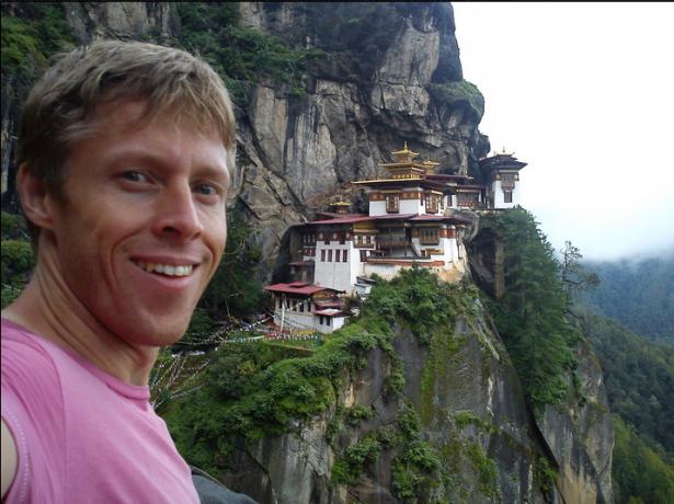 Gunnar Garfors at the Tiger's Nest in Bhutan.