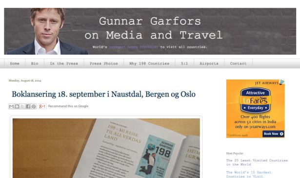 Gunnar Garfors Travel Site