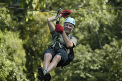 World Travellers: Raymond Walsh AKA Man on the Lam ziplining in Costa Rica.