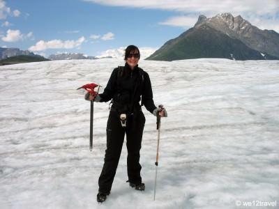 World Travellers: Antonette of We 12 Travel hiking a glacier