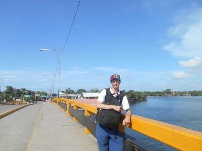 Walking across the bridge to the bus stop