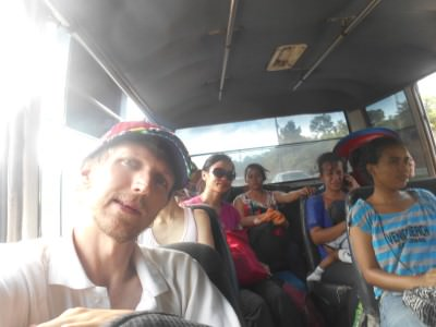 The minibus to San Pedro Sula before it got rammed.
