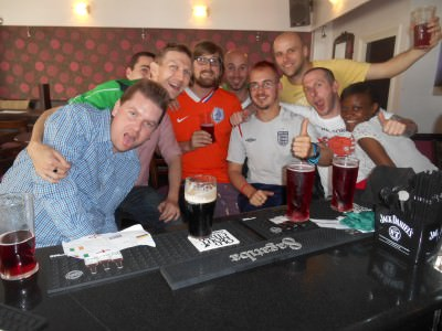 Our crowd in Borough watching Colombia v Greece.