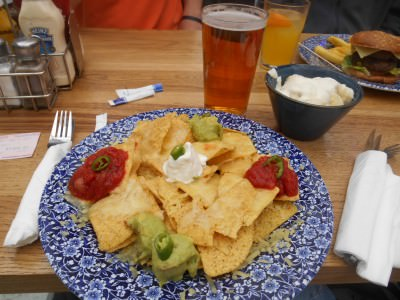 Nachos, my Brazilian beer and Greek yoghurt in Wetherspoons.