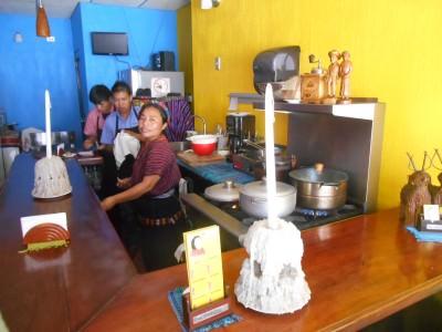 Senor in her restaurant