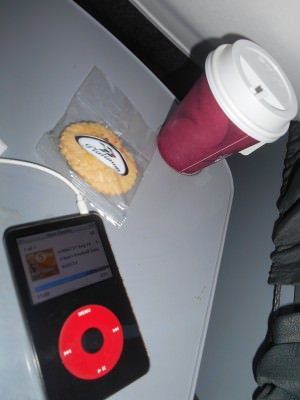 iPod, coffee and biscuits on route to San Salvador.