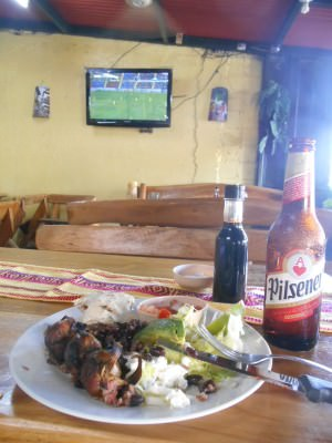 Local food, beer and football at Sopon Tipico, my local restaurant for a week or so!